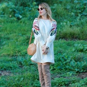 Free People embroidered sleeve babydoll dress S